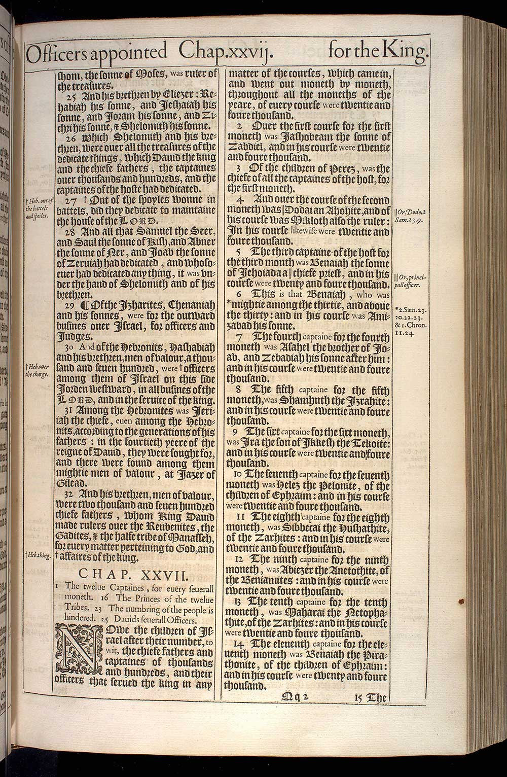 1 Chronicles Chapter 27 Original 1611 Bible Scan