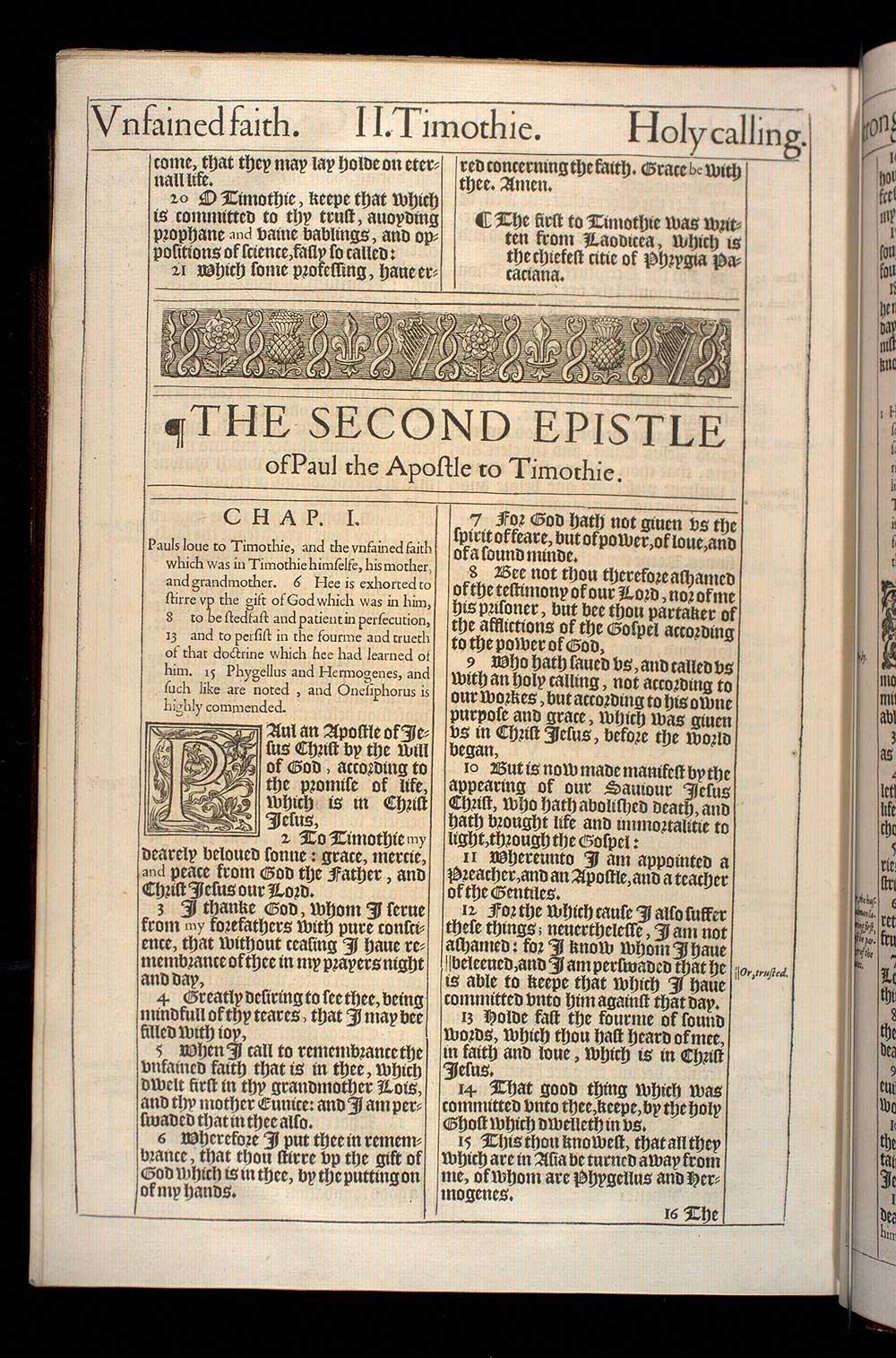 2 Timothy Chapter 1 Original 1611 Bible Scan