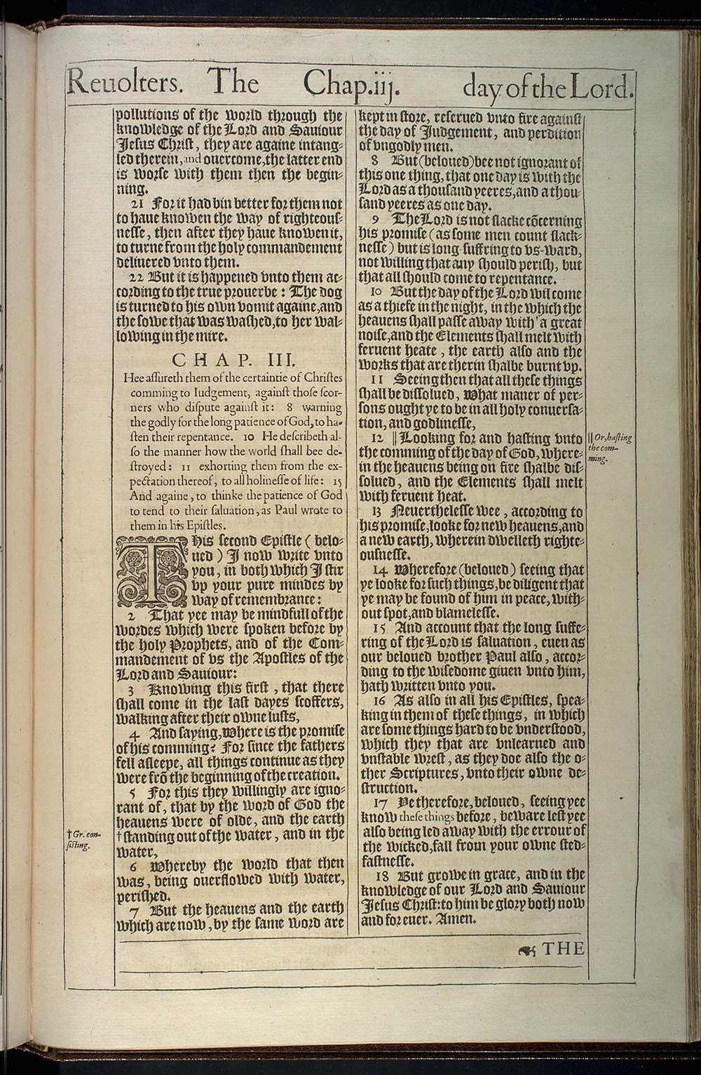 2 Peter Chapter 3 Original 1611 Bible Scan