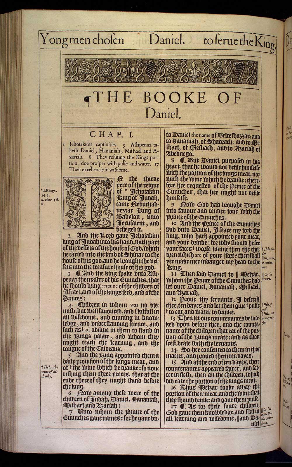 Daniel Chapter 1 Original 1611 Bible Scan