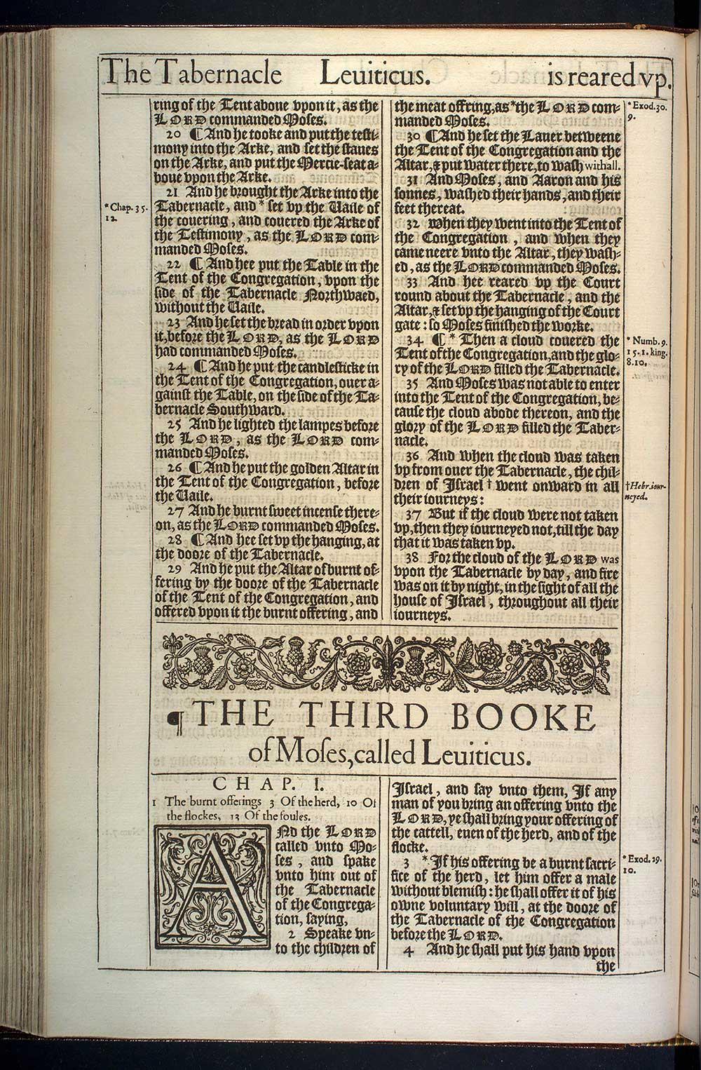 Leviticus Chapter 1 Original 1611 Bible Scan