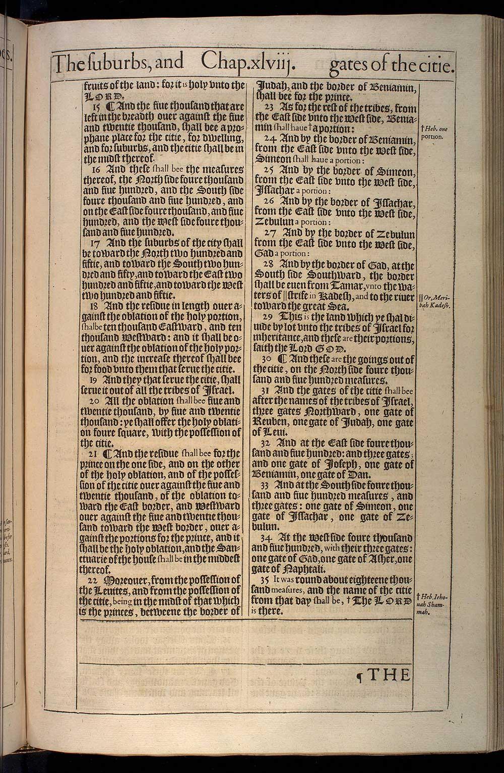Ezekiel Chapter 48 Original 1611 Bible Scan