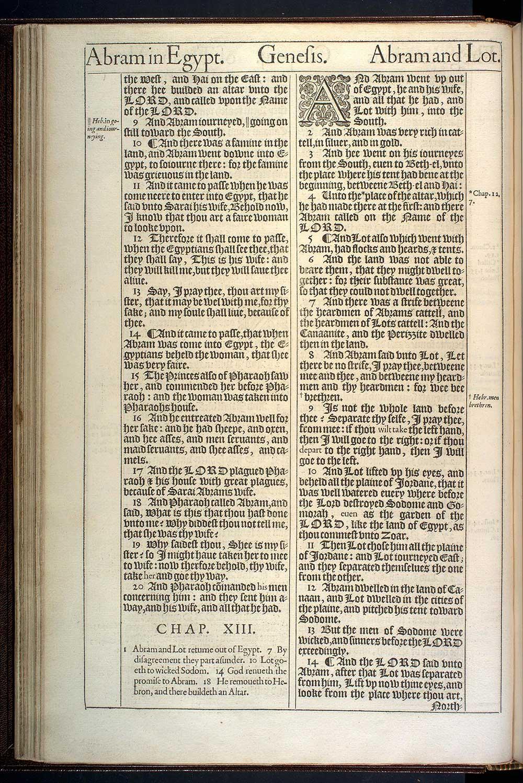 Genesis Chapter 13 Original 1611 Bible Scan