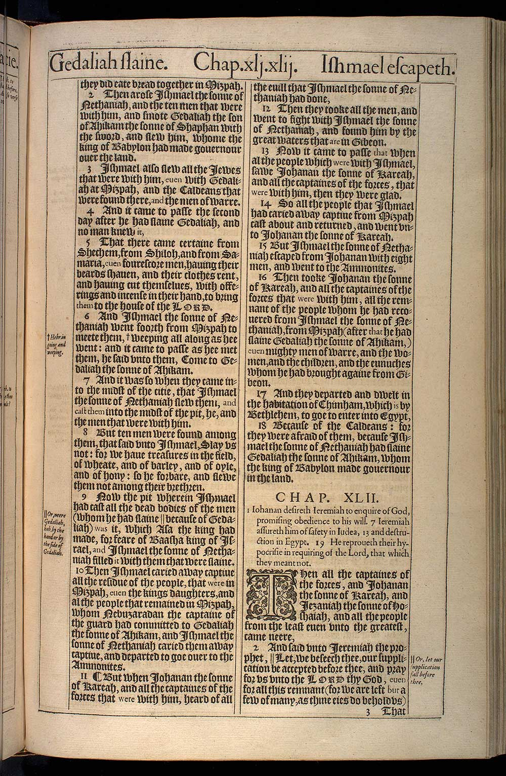 Jeremiah Chapter 42 Original 1611 Bible Scan