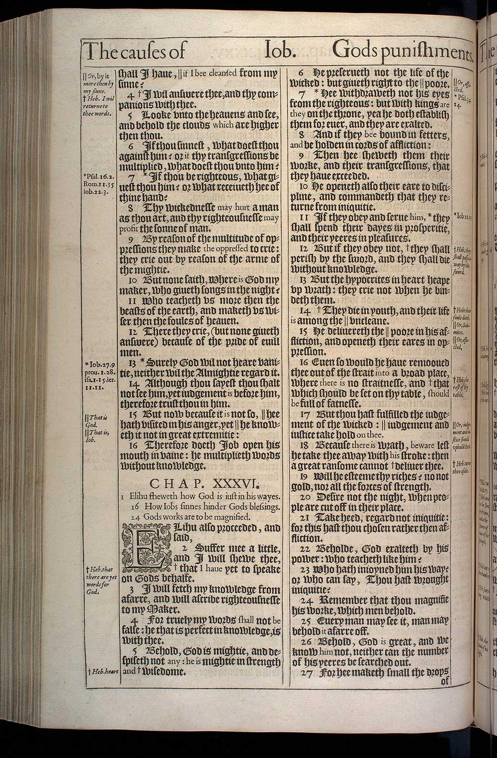 Job Chapter 36 Original 1611 Bible Scan