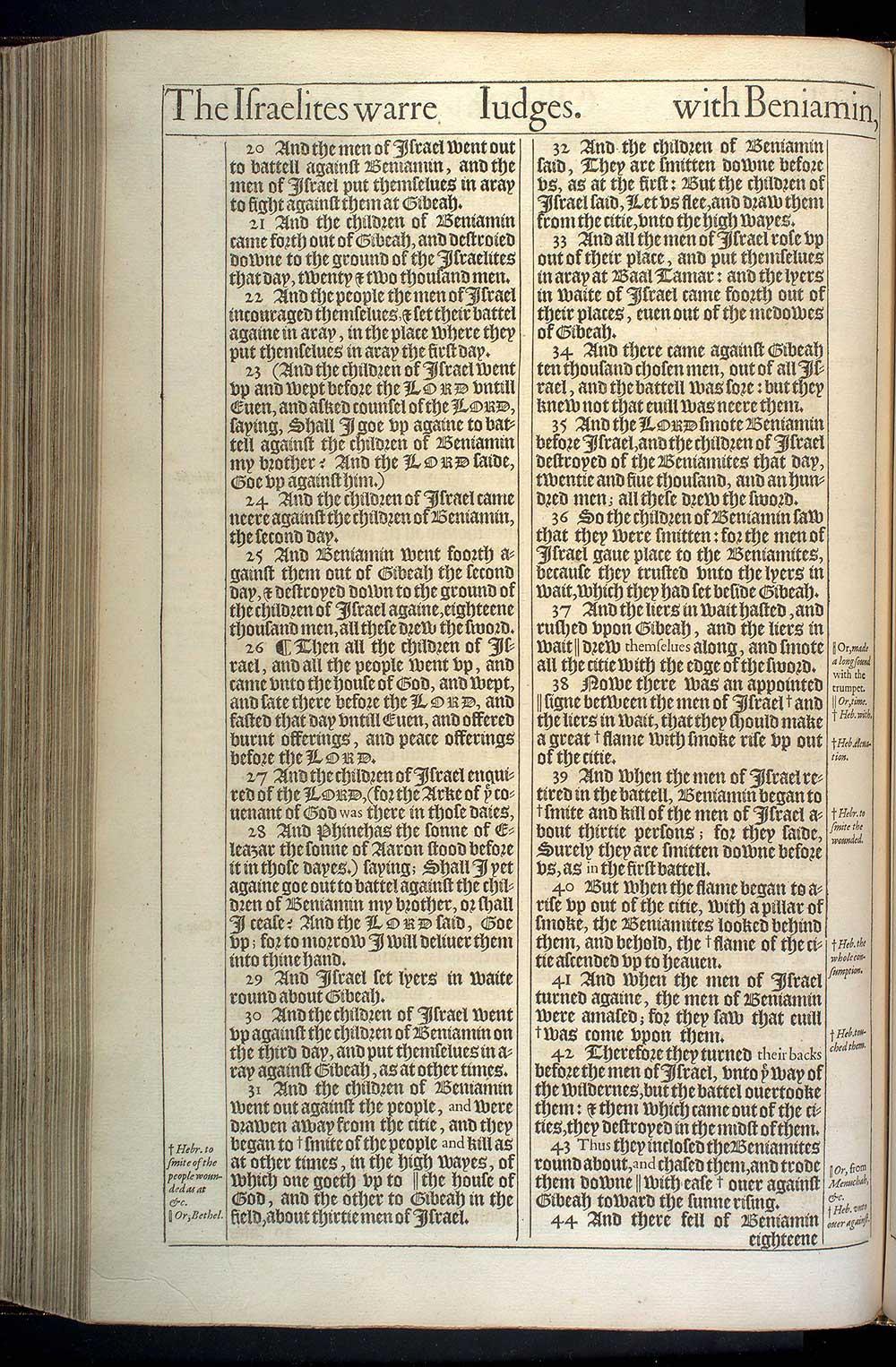 Judges Chapter 20 Original 1611 Bible Scan