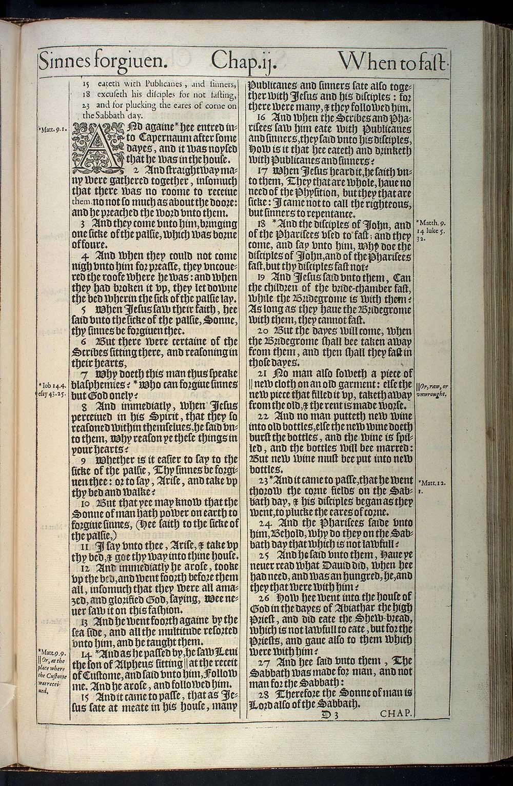 Mark Chapter 2 Original 1611 Bible Scan