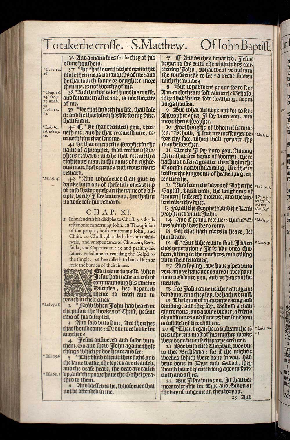 Matthew Chapter 11 Original 1611 Bible Scan