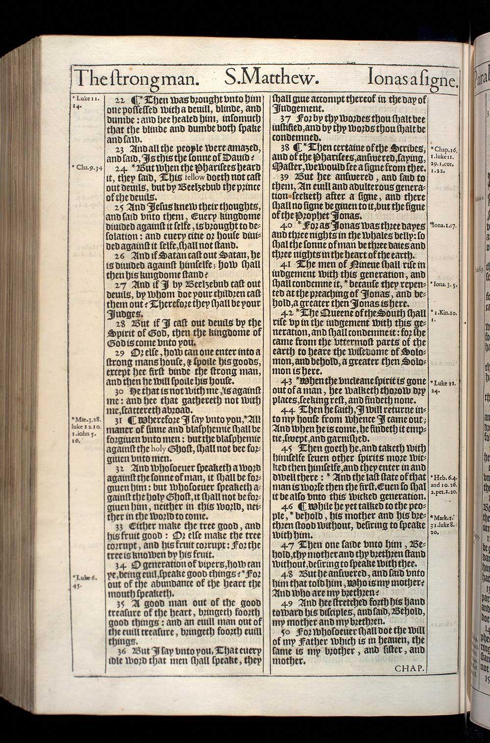 Matthew Chapter 12 Original 1611 Bible Scan