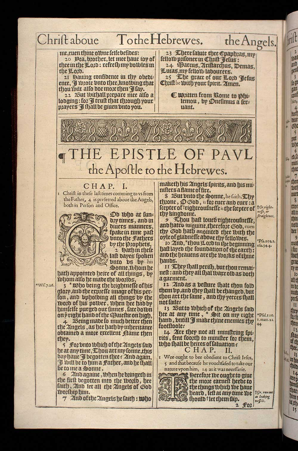 Hebrews Chapter 1 Original 1611 Bible Scan