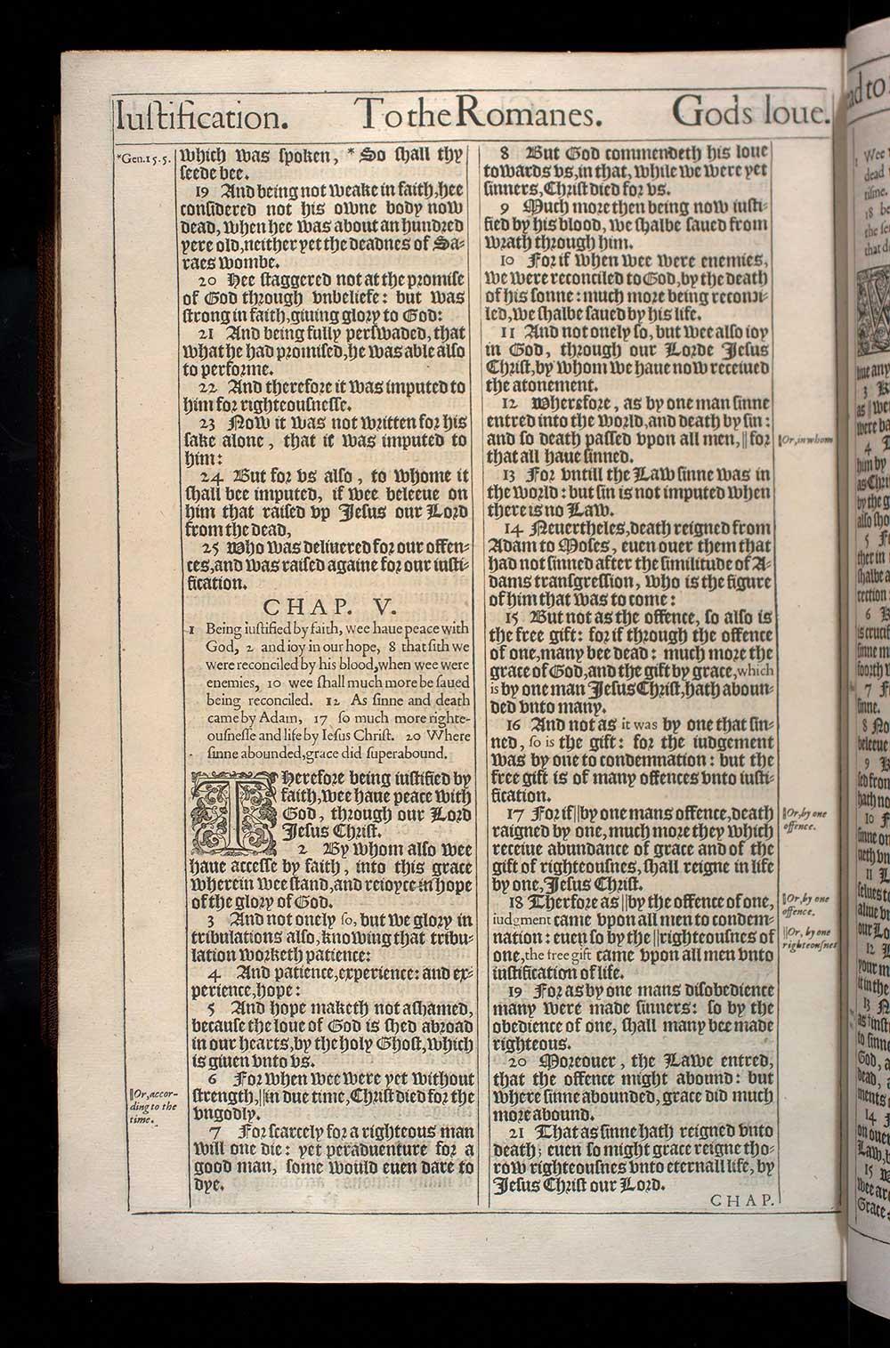 Romans Chapter 5 Original 1611 Bible Scan
