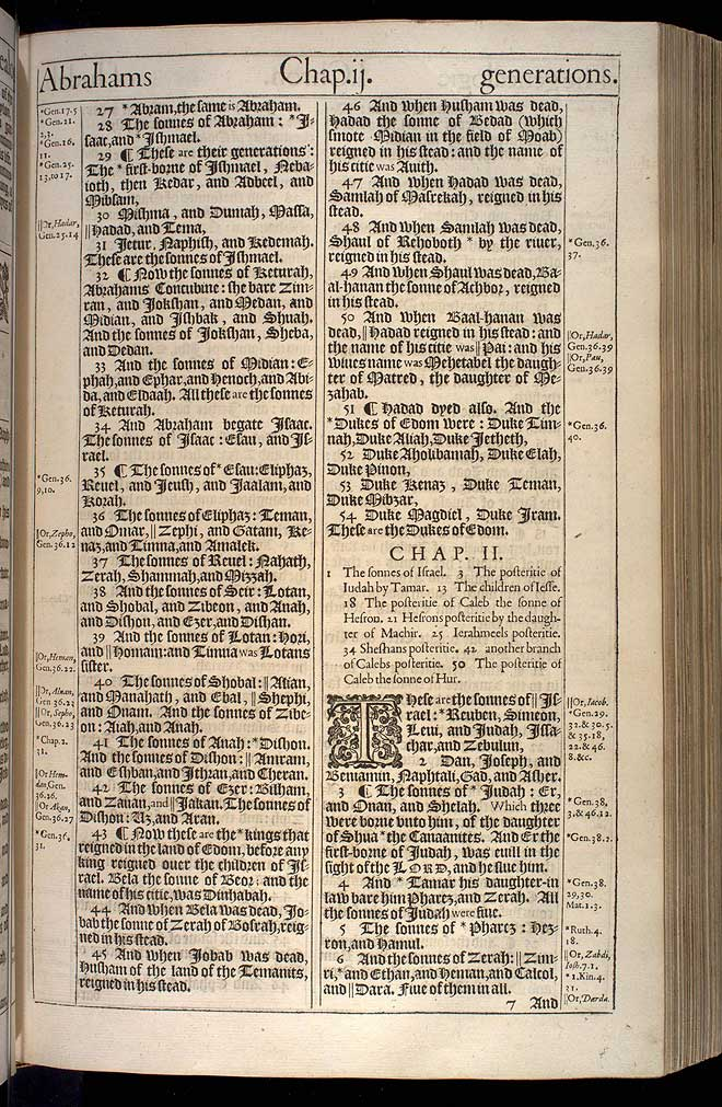 1 Chronicles Chapter 2 Original 1611 Bible Scan