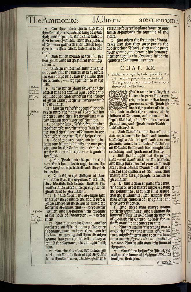 1 Chronicles Chapter 20 Original 1611 Bible Scan