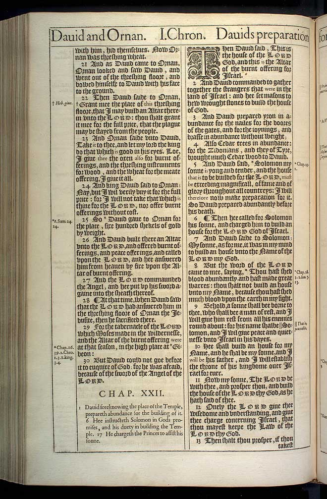 1 Chronicles Chapter 22 Original 1611 Bible Scan