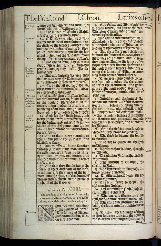 1 Chronicles Chapter 23 Original 1611 Bible Scan