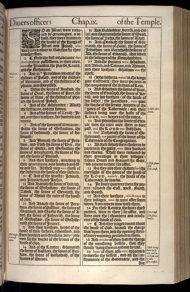 1 Chronicles Chapter 9 Original 1611 Bible Scan