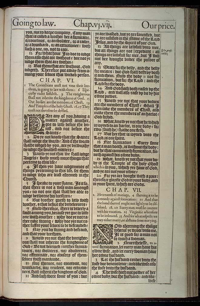 1 Corinthians Chapter 6 Original 1611 Bible Scan