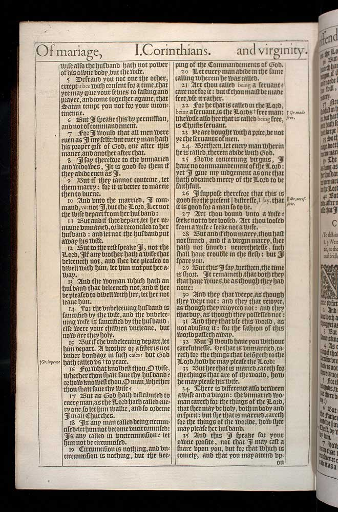 1 Corinthians Chapter 7 Original 1611 Bible Scan