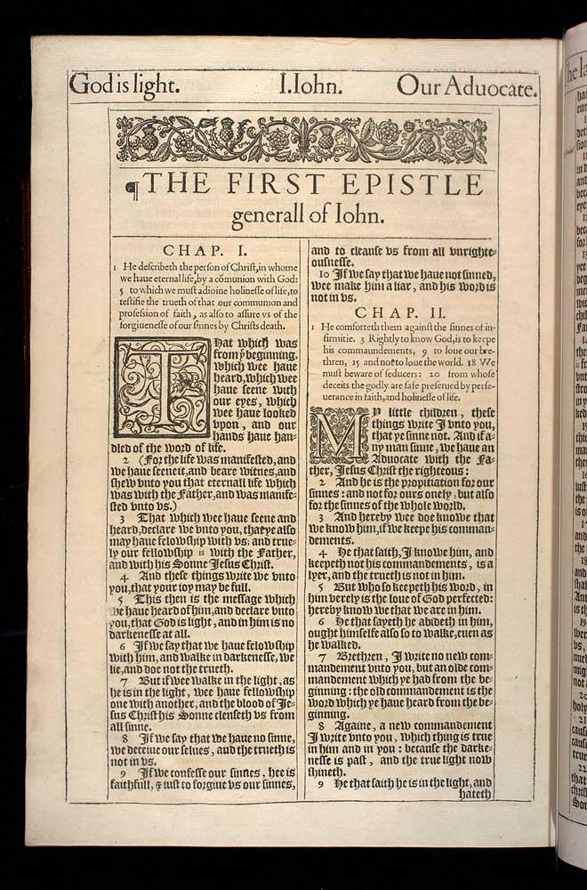 1 John Chapter 2 Original 1611 Bible Scan