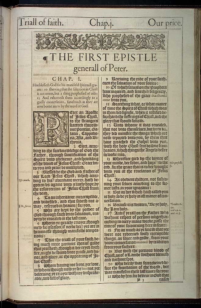 1 Peter Chapter 1 Original 1611 Bible Scan