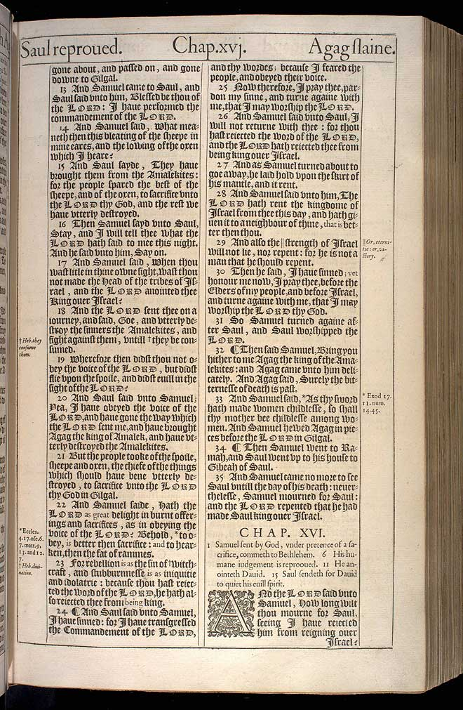 1 Samuel Chapter 16 Original 1611 Bible Scan