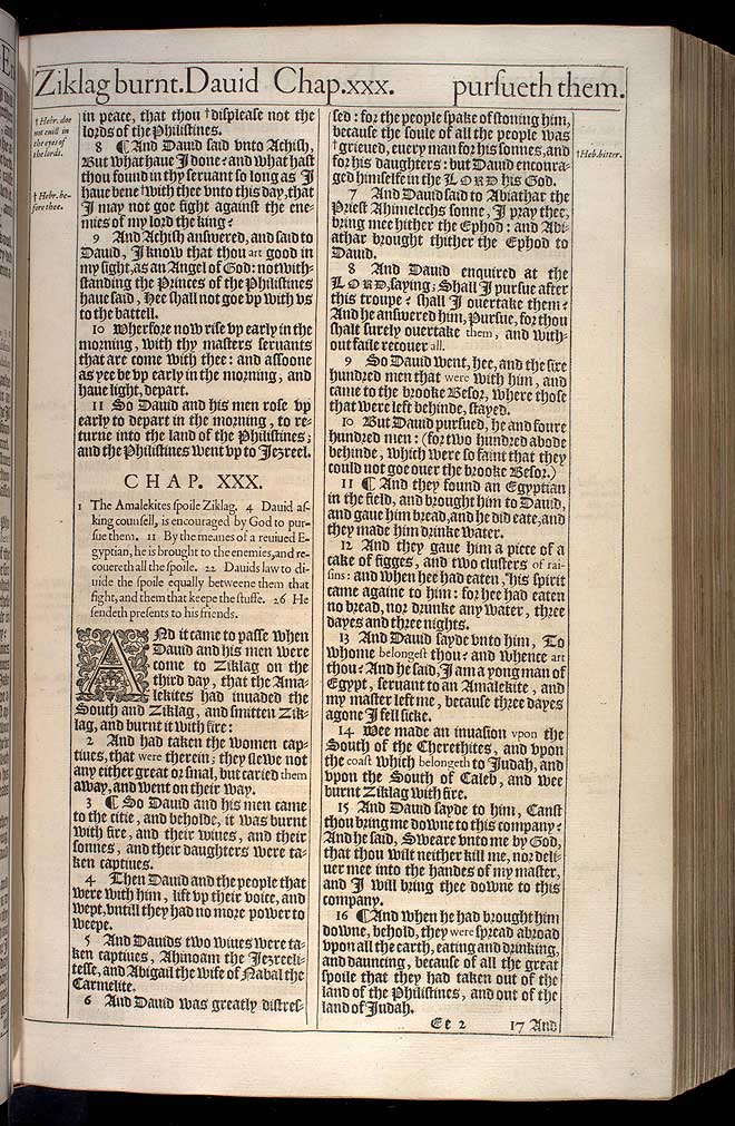 1 Samuel Chapter 30 Original 1611 Bible Scan