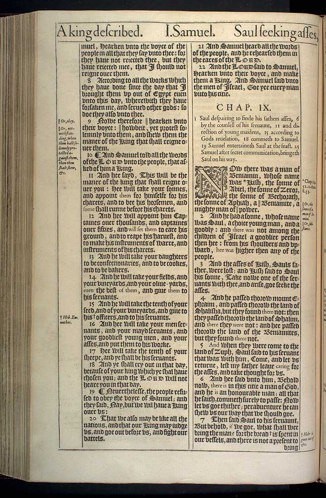 1 Samuel Chapter 9 Original 1611 Bible Scan