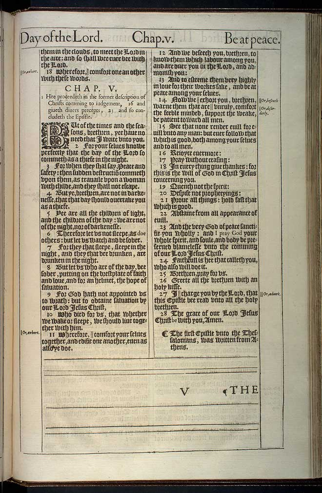 1 Thessalonians Chapter 5 Original 1611 Bible Scan