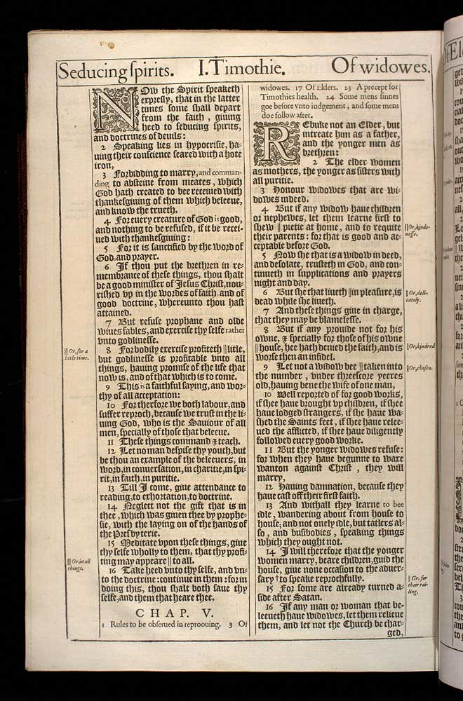 1 Timothy Chapter 5 Original 1611 Bible Scan