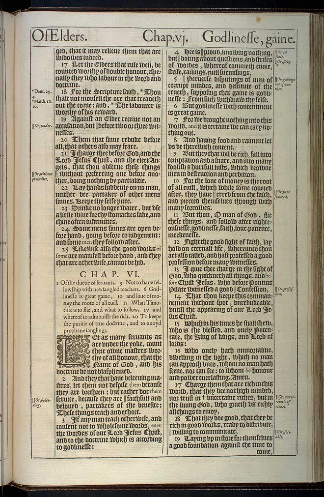 1 Timothy Chapter 6 Original 1611 Bible Scan