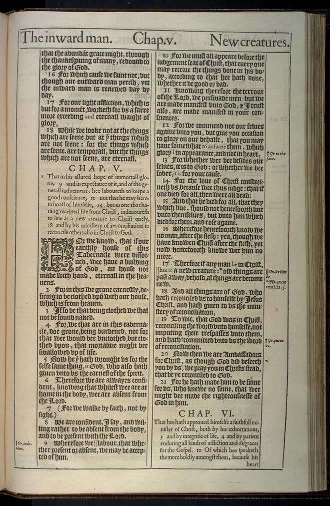 2 Corinthians Chapter 4 Original 1611 Bible Scan