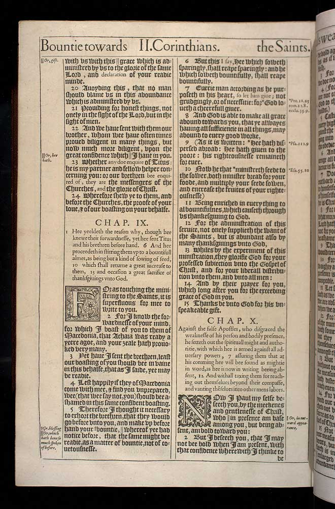 2 Corinthians Chapter 9 Original 1611 Bible Scan
