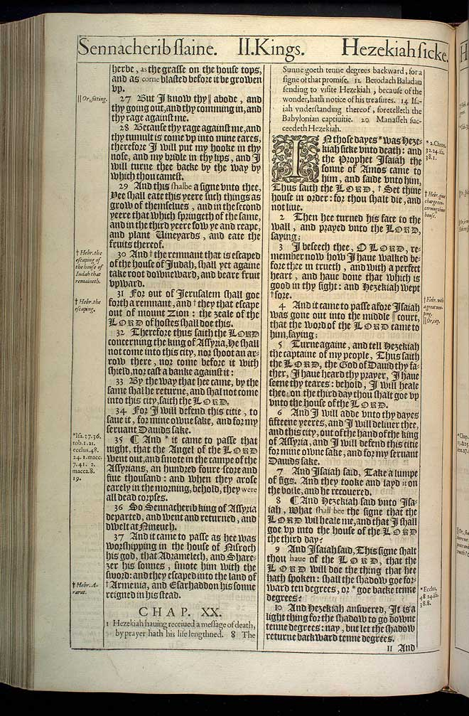 2 Kings Chapter 20 Original 1611 Bible Scan