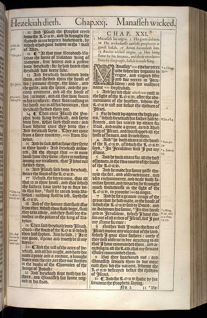 2 Kings Chapter 21 Original 1611 Bible Scan
