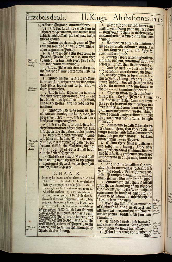 2 Kings Chapter 10 Original 1611 Bible Scan