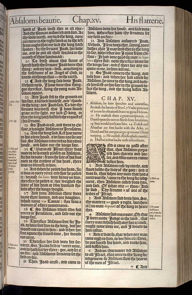 2 Samuel Chapter 15 Original 1611 Bible Scan