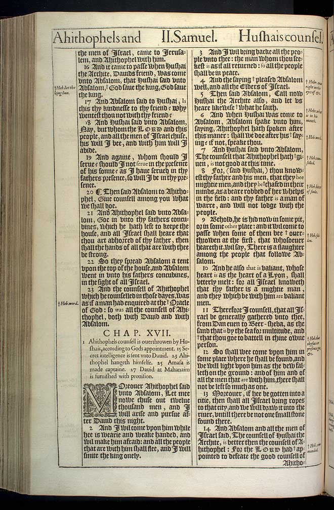 2 Samuel Chapter 17 Original 1611 Bible Scan