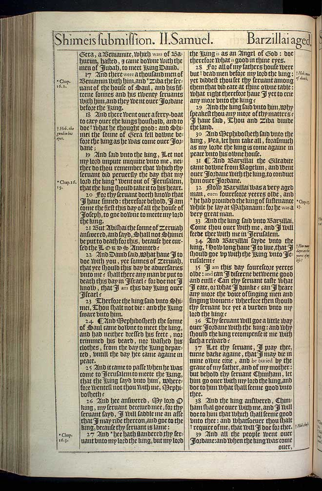 2 Samuel Chapter 19 Original 1611 Bible Scan
