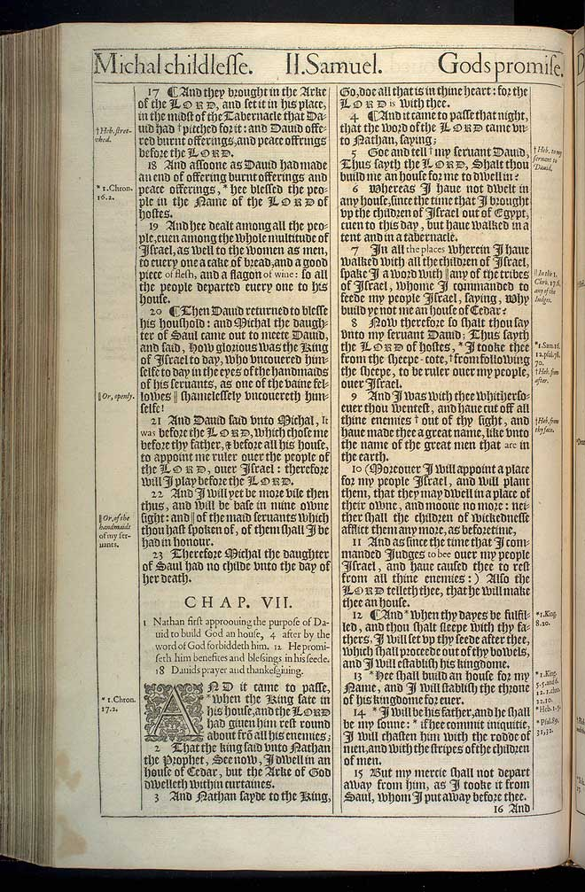 2 Samuel Chapter 7 Original 1611 Bible Scan
