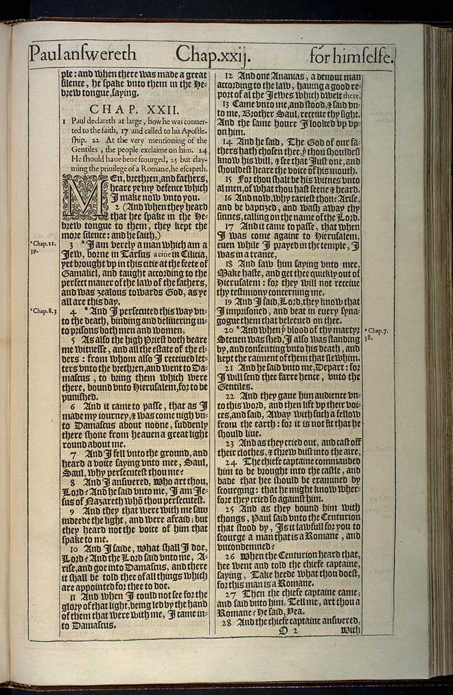 Acts Chapter 22 Original 1611 Bible Scan