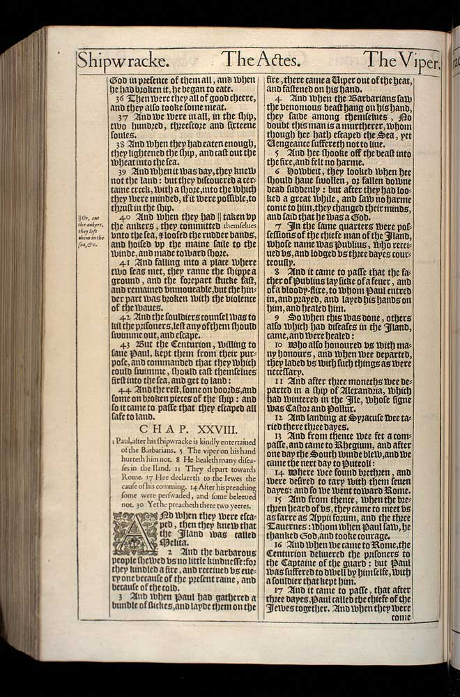 Acts Chapter 28 Original 1611 Bible Scan