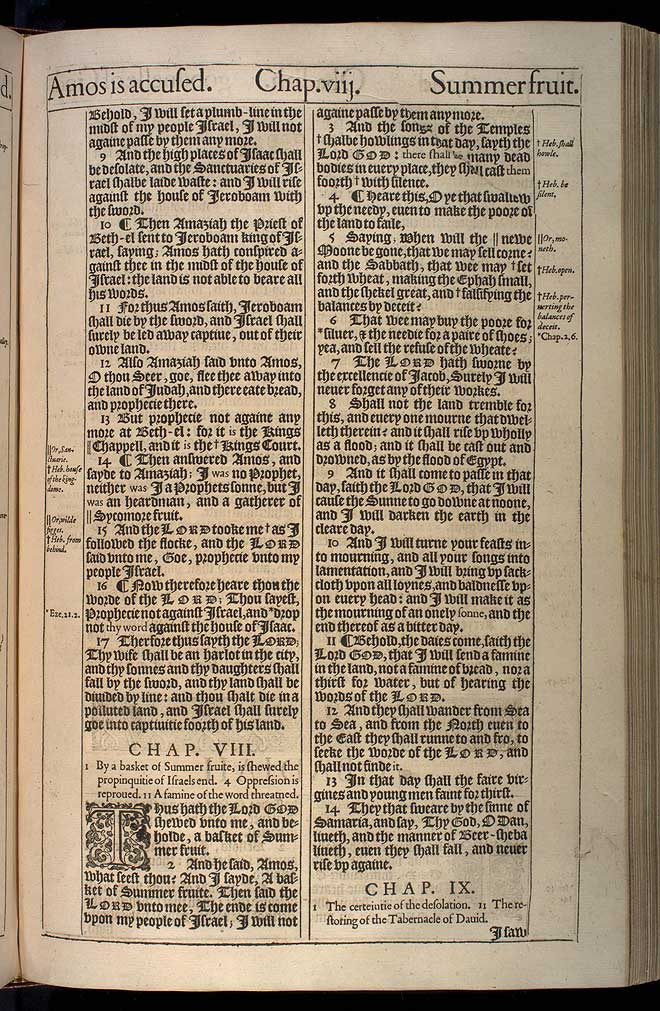 Amos Chapter 8 Original 1611 Bible Scan