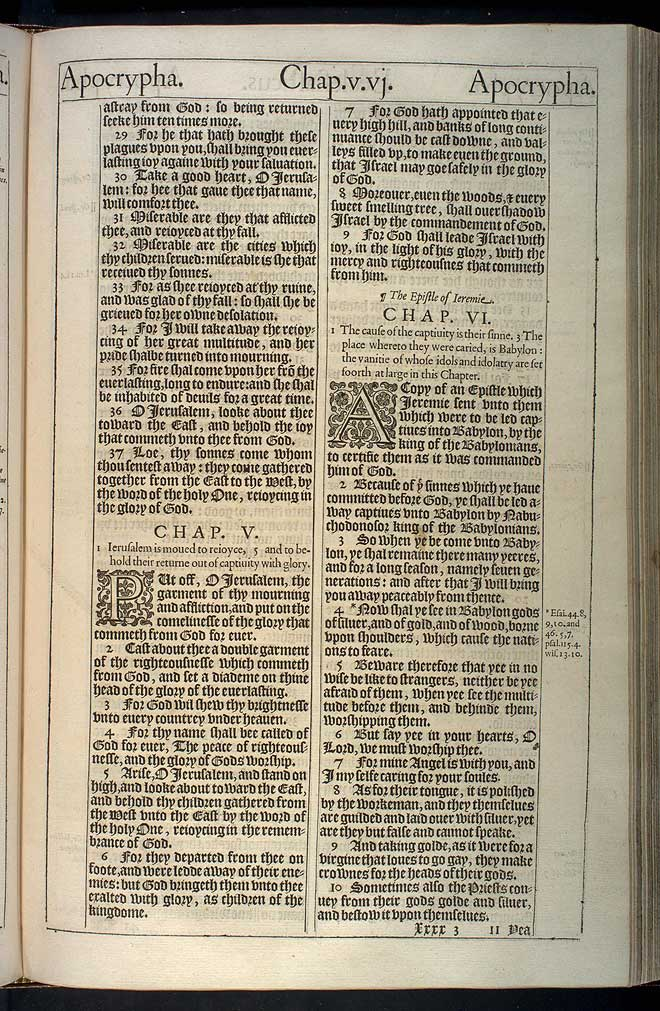 Letter of Jeremiah Chapter 1 Original 1611 Bible Scan
