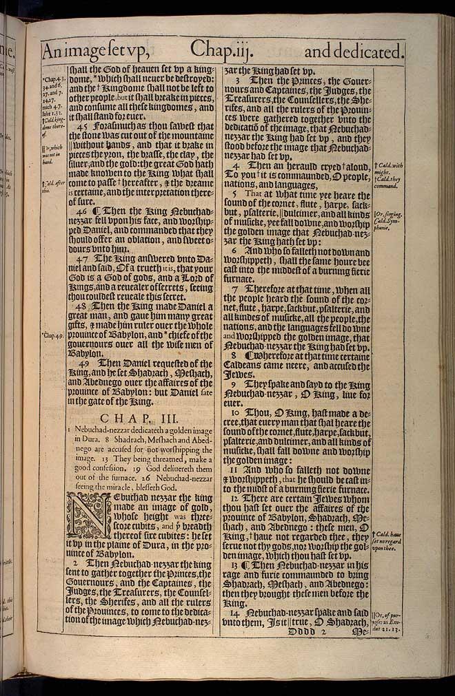 Daniel Chapter 3 Original 1611 Bible Scan