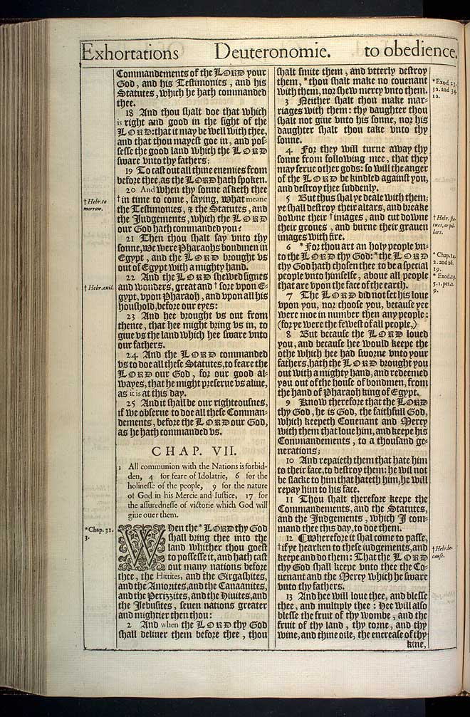 Deuteronomy Chapter 6 Original 1611 Bible Scan