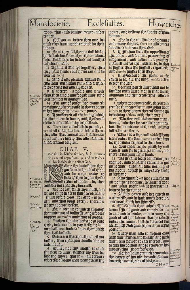 Ecclesiastes Chapter 5 Original 1611 Bible Scan
