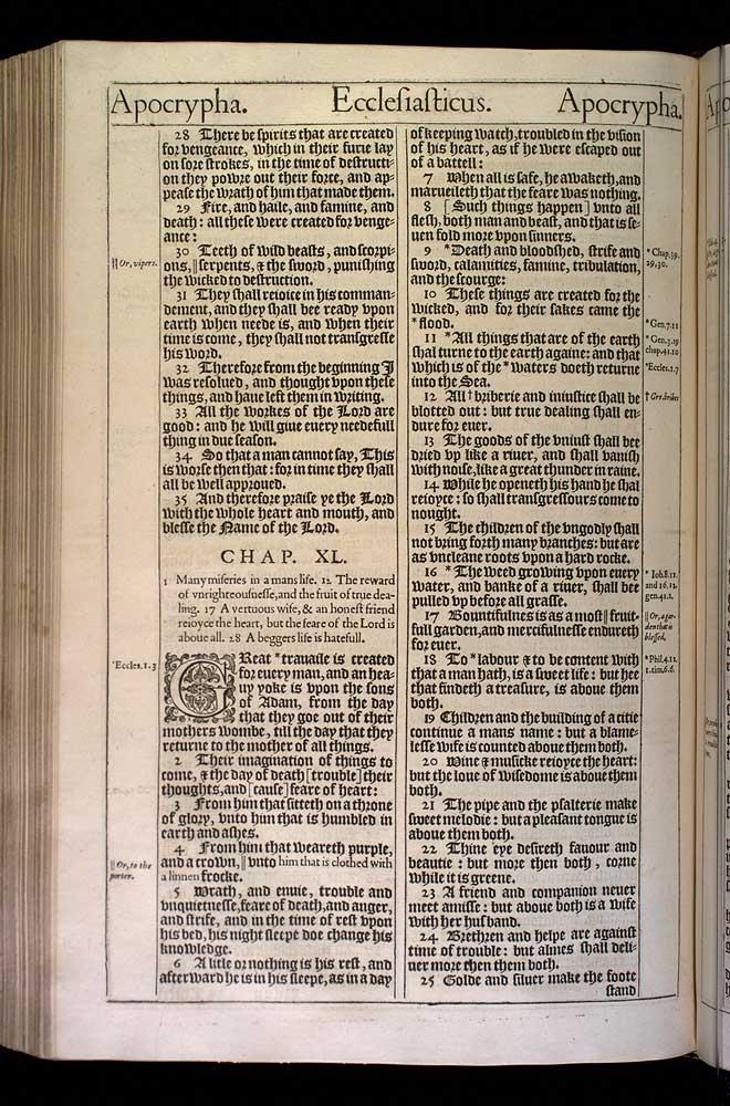 Ecclesiasticus Chapter 40 Original 1611 Bible Scan
