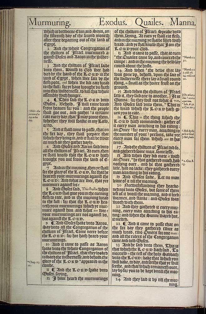 Exodus Chapter 16 Original 1611 Bible Scan