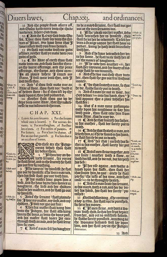 Exodus Chapter 21 Original 1611 Bible Scan