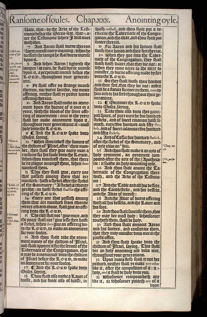 Exodus Chapter 30 Original 1611 Bible Scan